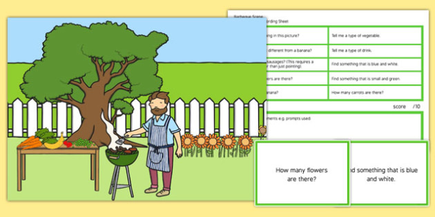 Barbecue Scene Blanks Level 2 Questions - receptive language, expressive language, verbal reasoning, language delay, language disorder, comprehension, autism