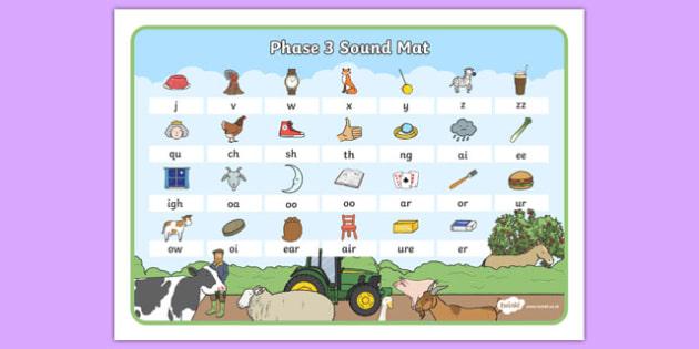Farm Themed Phase 3 Sound Mat - farm, phase three, sound mat, visual aid, sounds