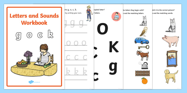 Letters and Sounds Workbook (g, o ,c, k)- Letters and Sounds, handwriting, letter formation, workbook, writing practice, foundation, uppercase, letters, writing, learning to write, DFES