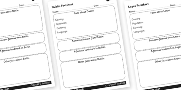 Cities Factsheet Writing Template, Major Cities, Cities