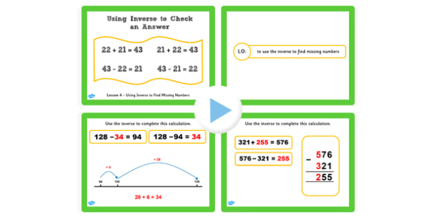 Y3 Inverse Lesson 4 Check Using Inverse Missing Number Powerpoint