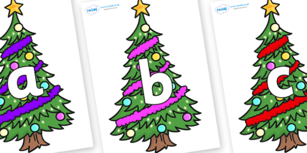 Phoneme Set on Christmas Trees (Decorated) - Phoneme set, phonemes, phoneme, Letters and Sounds, DfES, display, Phase 1, Phase 2, Phase 3, Phase 5, Foundation, Literacy