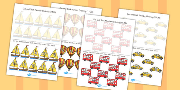 Transport Themed Cut and Stick Number Ordering Activity 11-20