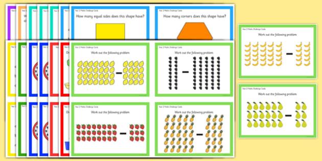Year 2 Maths Challenge Cards Pack - year 2, maths, challenge cards, challenge, cards, pack