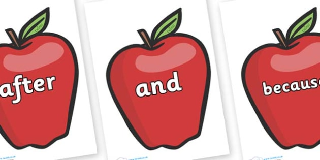 Connectives on Red Apples - Connectives, VCOP, connective resources, connectives display words, connective displays