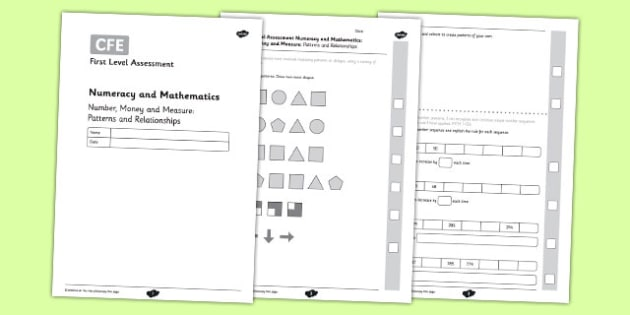 First Level Assessment - Number, Money and Measure: Patterns and Relationships - CfE, numeracy, mathematics, patterns, sequences, number, shape