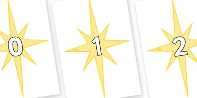 Numbers 0-31 on Christmas Stars - 0-31, foundation stage numeracy, Number recognition, Number flashcards, counting, number frieze, Display numbers, number posters