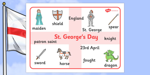 St George's Day Word Mat - St George's Day, word mat, writing aid, maiden, St George, patron saint, dragon, sword, England, fought, horse, English