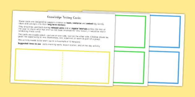 Knowledge Testing Cards Template - test, assessment, knowledge, words, language, vocabulary, terminology, assess, ks1, ks2, eyfs, early years