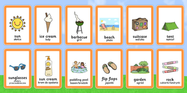 Polish Translation Summer Pairs Matching Game - polish, summer