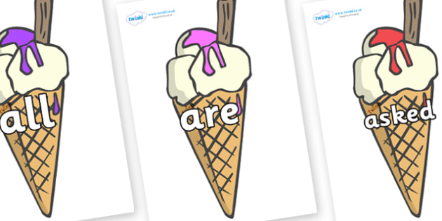 Tricky Words on Ice Creams to Support Teaching on The Very Hungry Caterpillar - Tricky words, DfES Letters and Sounds, Letters and sounds, display, words