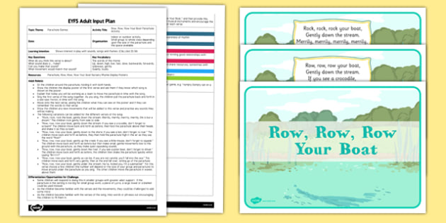 Row, Row, Row Your Boat Parachute Activity EYFS Adult Input Plan and Resource Pack - rhyme, PE, physical education, parachute games