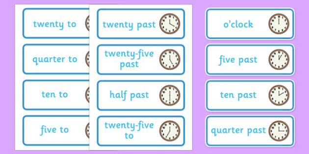 Time Word Cards - clock shop, role play, clock, shop, roleplay, word cards, time