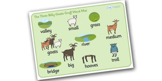 The Three Billy Goats Gruff Word Mat - Three Billy Goats Gruff , word mat, writing aid, traditional tales, tale, fairy tale, goat, billy goat, troll, sweet grass, bridge