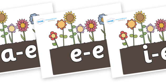 Modifying E Letters on Flowers in Garden - Modifying E, letters, modify, Phase 5, Phase five, alternative spellings for phonemes, DfES letters and Sounds