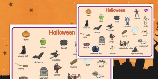 Plansza ze słownictwem Halloween po polsku - wiedźma, duch