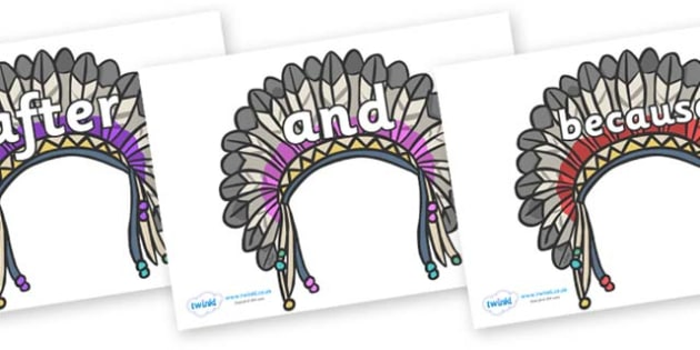 Connectives on Headdresses - Connectives, VCOP, connective resources, connectives display words, connective displays