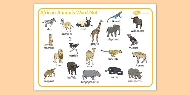 African Animals Word Mat - Africa, animals, Safari,  word mat, safari, lion, cheetah, puma, jaguar, rhino, hippo, elephant