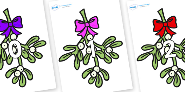 Numbers 0-31 on Mistletoe (Bells) - 0-31, foundation stage numeracy, Number recognition, Number flashcards, counting, number frieze, Display numbers, number posters
