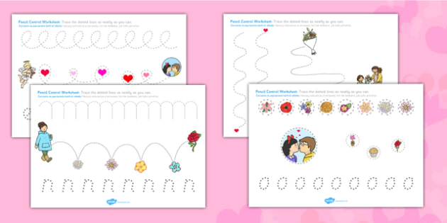 Valentine's Day Pencil Control Worksheets Polish Translation - polish, valentines, control