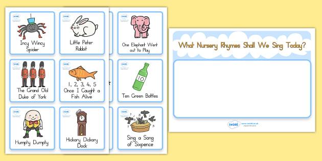 Nursery Rhyme Choosing Cards - rhyme, poem, visual aid, cards