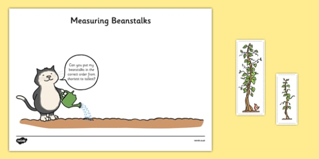 Beanstalk Measuring Game Resource Pack - EYFS, Early Years planning, adult led, Jasper's Beanstalk, Mick Inkpen, Nick Butterworth, Maths, Shape, Space and Measure, plants, growth