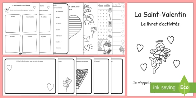 Valentine's Day Themed Activity Book French - french, valentines, day, activity