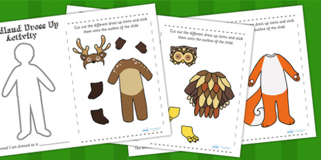 Woodland and Forest Animals Dress Up Activity - woods, animals