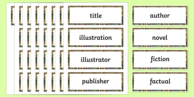 Novel Terminology Word Cards-Irish
