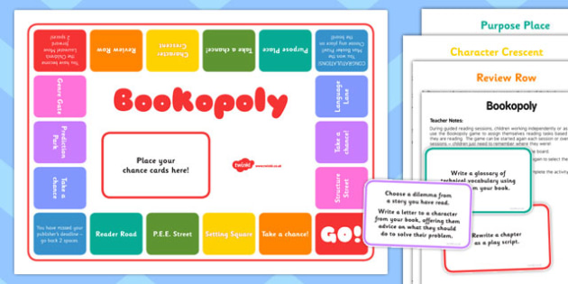 Bookopoly Board Game - guided reading, fun, activity, reading, book, group, small, challenge, activity, play, reading, english, ks2, key stage 2