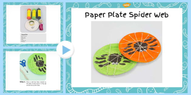 Paper Plate Spider Web Handprint Craft Instructions PowerPoint