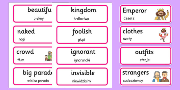 The Emperor's New Clothes Word Cards Polish Translation - polish, emperors new clothes, word cards