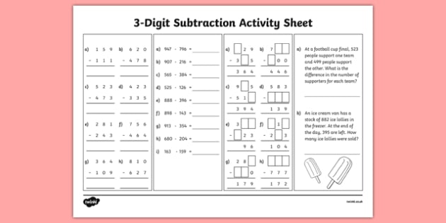 3-Digit Number Subtraction Activity Sheet, worksheet