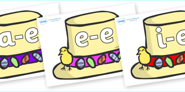 Modifying E Letters on Summer Hats - Modifying E, letters, modify, Phase 5, Phase five, alternative spellings for phonemes, DfES letters and Sounds