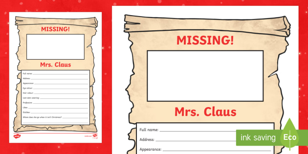 Missing Mrs Claus Activity Sheet - M&S, Christmas, Marks, Spencers, Advert, Mrs Christmas, Mrs Claus, Mrs Christmas, worksheet
