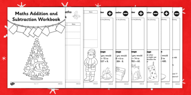 Christmas Themed Year 3 Maths Addition and Subtraction Workbook - christmas, themed, year 3, maths, addition, subtraction, workbook