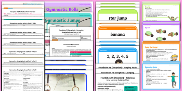 Gymnastics Jumping Jacks and Rock n Roll Unit Pack - eyfs, early years, planit, foundation, gym, movement, jump, rolling, whole pack,