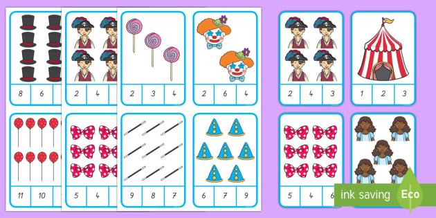 Fasching  Zählrahmen Puzzle: Zahlen ordnen - Zählen, Spielen, Fasching, Carnival, Clown, Ordnen,German