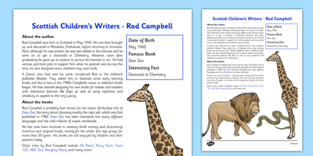 Scottish Children's Writers Rod Campbell Information Sheet - CfE, Literacy, Scottish Children's Writers, Rod Campbell