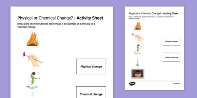 Physical or chemical change Match and Draw