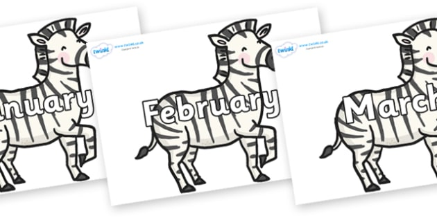 Months of the Year on Zebras - Months of the Year, Months poster, Months display, display, poster, frieze, Months, month, January, February, March, April, May, June, July, August, September