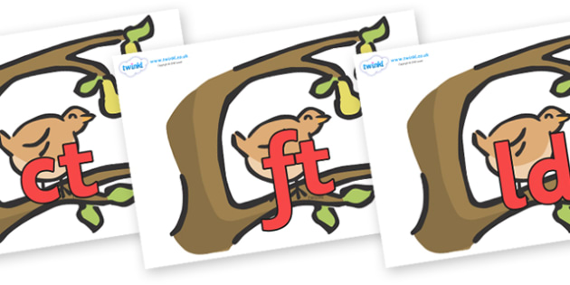 Final Letter Blends on Partridge in a Pear Tree - Final Letters, final letter, letter blend, letter blends, consonant, consonants, digraph, trigraph, literacy, alphabet, letters, foundation stage literacy