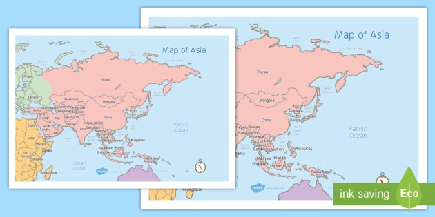 Map of Asia - map of asia, continent, countries, asia, map, land