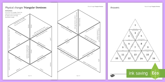Physical Changes Tarsia Triangular Dominoes - Tarsia, Dominoes, Physical Changes, Dominoes, Brownian Motion, Conservation of Mass, Changes of Stat, plenary activity