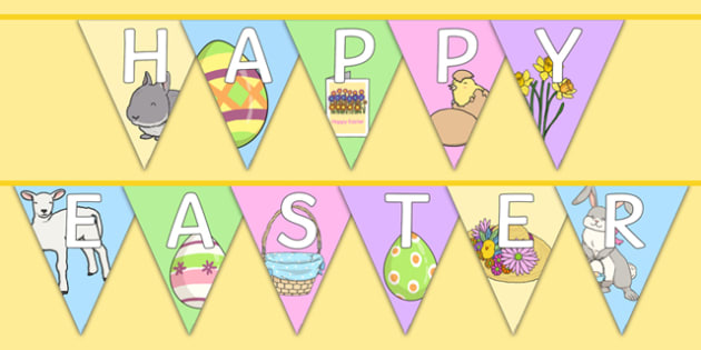 Happy Easter Display Bunting - bunting, decorations, display, display bunting, happy easter, easter, happy easter bunting, easter bunting, happy easter display, classroom decorations, for decorating your classroom