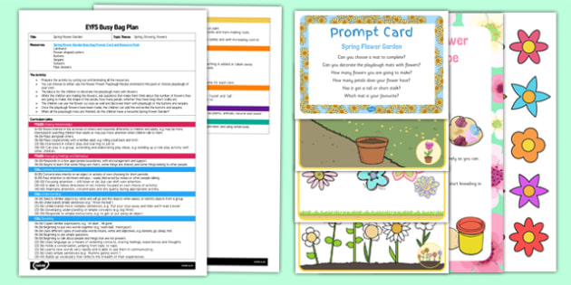 Spring Flower Garden EYFS Busy Bag Plan And Resource Pack - Gardens, flowers, spring, eyfs