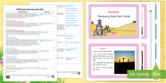 EYFS Easter Discovery Sack Plan and Resource Pack - easter, seasons, spring, religion, sack