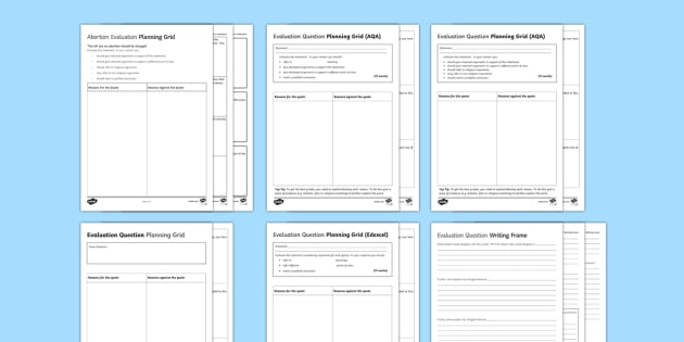 RS GCSE Evaluation Question Writing Frames