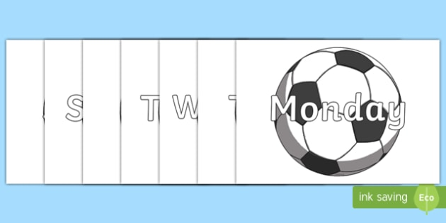 Days of the Week on Footballs - Days of the Week, Weeks poster, week, display, poster, frieze, Days, Day, Monday, Tuesday, Wednesday, Thursday, Friday, Saturday, Sunday