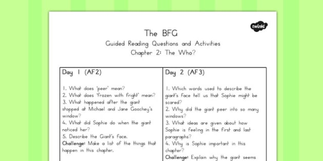 Guided Reading Questions Chapter 2 to Support Teaching on The BFG - australia, bfg, guided reading